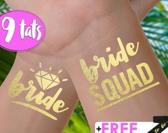 Set of 9 'Bride Squad' Tattoos | bachelorette party tattoos, metallic temporary tattoos, gold foil tattoos, bridesmaid gifts, bride squad