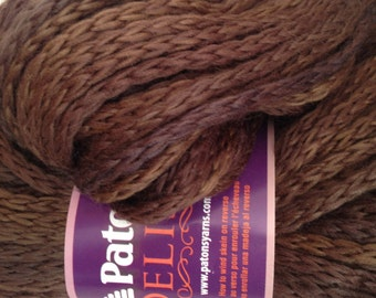 Patons Delish Yarn, Color-Espresso #87012, Content-Acrylic and wool blend, Weight-super bulky #6