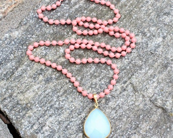 King Coral Beaded Necklace with White Opal Chalcedony Pendant