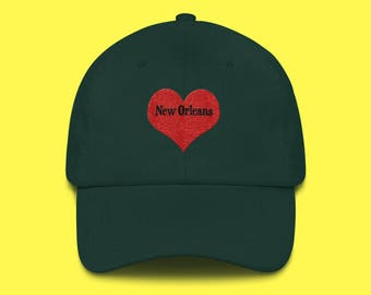 NEW Orleans Cap with the word New Orleans inside of an Embroidered Red Heart with FREE SHIPPING