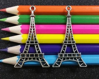 5 PCS - Eiffel Tower Paris Silver Charm Pendant C0028