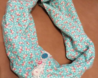 Pink and Blue Floral Print Infinity Scarf