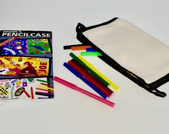 Design Your own Pencil Case with zip - Pack of 5 - Blank Pencil Case / Makeup Bag - Children's Party Favours - Kids Birthday Gifts