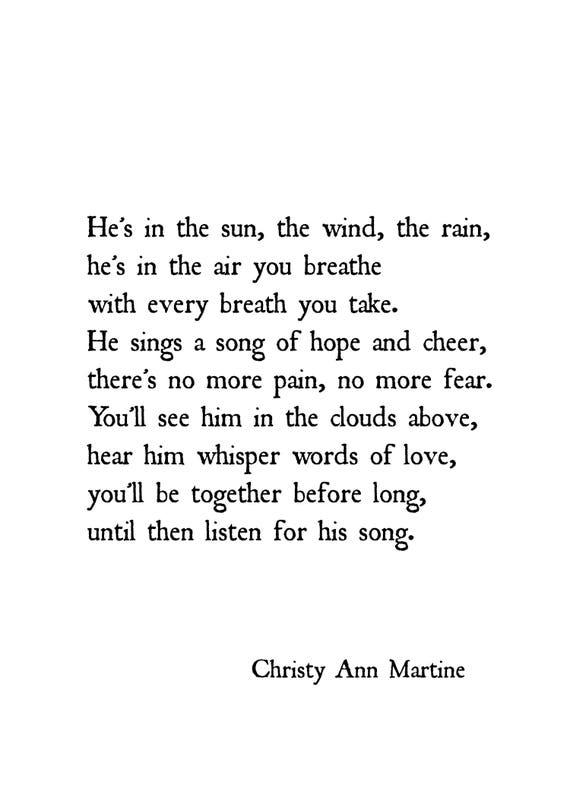 Memory of Son - Husband - Death of Loved One - Memorial Gift - Heaven Poem Prints - He's in the Sun the Wind the Rain
