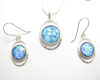 Amazing Set of Roman Glass 925 Sterling Silver Earrings pendant