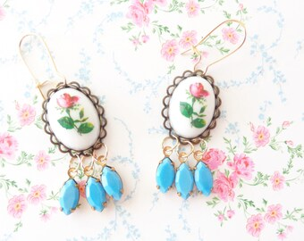 Everythings Turning Up Roses - Vintage Rose and Jewel Earrings - Vintage Limoges Red Rose Dangle Earrings - Vintage Blue Rhinestone Earrings