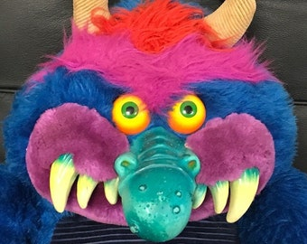 1986 MY PET MONSTER vintage plush original toy with Hand Cuffs Amtoy *shakles