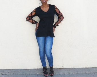 Black Top With Cut Out Sleeves, Black Shirt Long Sleeves
