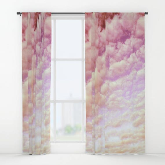 Cotton Candy Sky Window Curtain, Nature Curtain, Decorative, Unique Design, Happy Decor, Office Window Curtain, Dorm, Campus, Cloud Sky,Pink