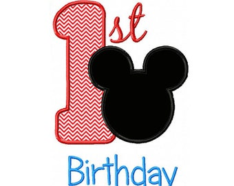 Mickey Ears 1st Birthday Applique Machine Embroidery Digital Download