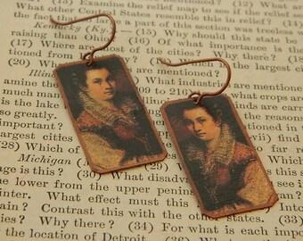 Artist earrings Lavinia Fontana mixed media jewelry art jewelry