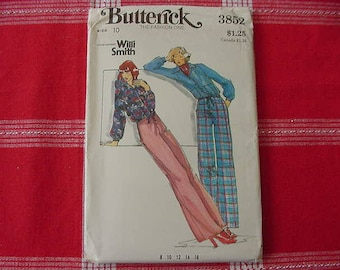 Vintage 1970s Butterick Pattern 3852, Misses Loose Fitting Top, Slightly Flared Pants, Size 10, Bust 32 1/2, Uncut, Designer Willi Smith