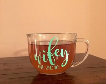 Wifey Coffee Cup - Wedding Day Coffee Mug - Bride To Be Coffee Cup - Just Married Coffee Mug
