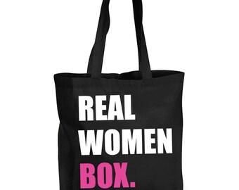 Real Women Box Training Bag Shopping Bag Reusable Black Shopper Gym Bag