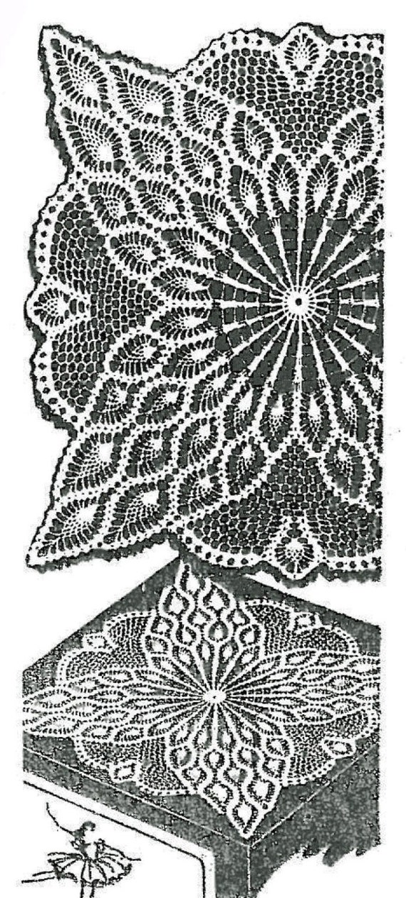 Old Crochet Pattern 7363 Square Doily Tv Cover Pineapple