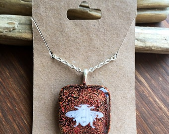 Dichroic glass bee necklace-fused glass jewellery-bee necklace-dichroic bee necklace