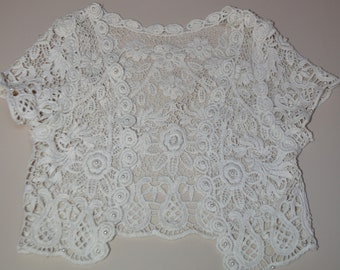 Girls lace Jacket, tan Wedding Bolero, Jacket,  crochet lace Jacket, Bolero,  Shrug, Wedding Wrap, Stole