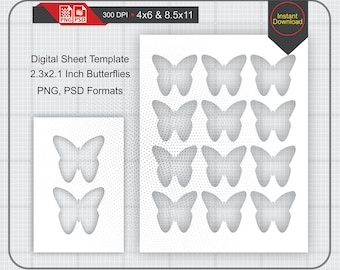 "2.3""x2.1"" Butterflies Template Instand Download, Make Your Own Template Png and Psd Formats"