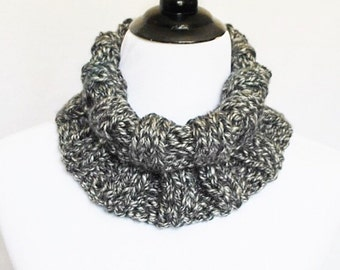 Black and Gray Ribbed Knit Cowl, Unisex Neck Warmer, Short Infinity Scarf, Turtleneck Collar Scarf - Charcoal
