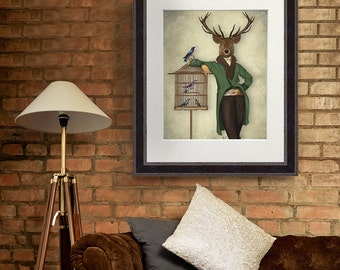 Fine art deer print Dining room art Deer print Deer and Bamboo cage full home decor print deer art dining room wall art large wall art