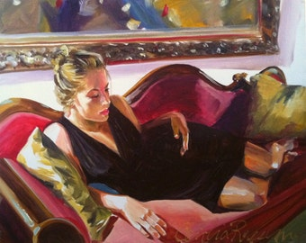 RED CHAISE , Art Print of Original Oil Painting, figurative painting
