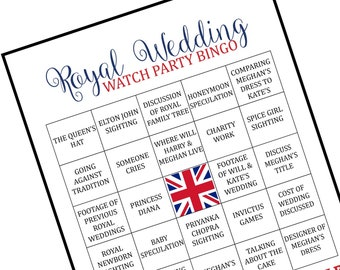 Royal Wedding Bingo, Royal Wedding Watch Party, Royal Wedding, Royal Wedding Party, Harry and Meghan, Royal Wedding Game, Royal Wedding 2018