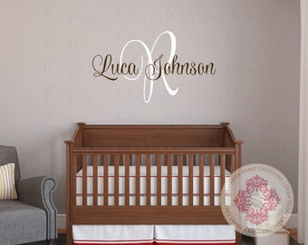 Name Wall Decal with Initial Monogram for Girl or Boy Baby or Teen - Baby Name Wall Decal in Small to Extra Large Sizes IN0052