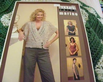 Knitting Pattern Book - Artful Yarns Marine - 4 Designs - Empire Colorblock Top, Cropped Kimono, Bow Tie Tank, Lace Scarf