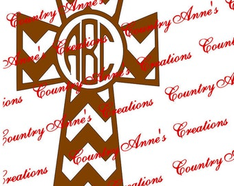 "SVG PNG DXF Eps Ai Wpc Cut file for Silhouette, Cricut, Pazzles, ScanNCut, "" Monogram Cross""  svg"