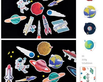 30 solar system planets outer space theme paper card embellishment satellite astronaut earth jupiter nine planets Galaxy mystery decor