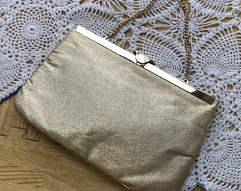 Vintage 1950s Gold Clutch With Hideaway Chain Evening Bag