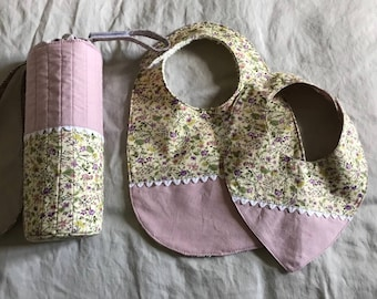 Birthday gift: purse thermos bottle and two matching bibs