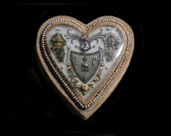MercurysMoon-Rare & Unusual Antique  Heart Box Reliquary From France 1830's-Pearls, Marcasites, Flowers, M.O.P.