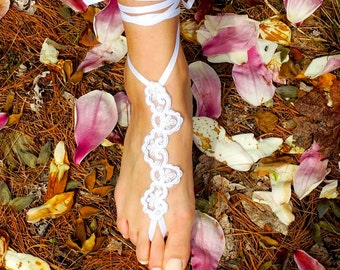White lace wedding barefoot sandals, lace sandals, beach weddings
