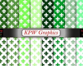 St Patricks Day Green Fleur de Lis Digital Printable Scrapbook Papers, Personal & Small Commercial use (0051)