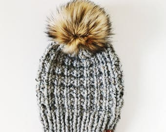 Chunky Hand Knit Slouch Ski Hat with Faux Fur Pom Pom | the LODGE HAT | Grey & Golden Wolf
