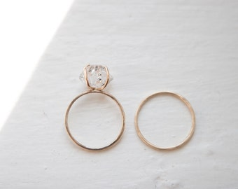 Herkimer Diamond Solitaire Ring Hammered Band 14k Recycled Gold