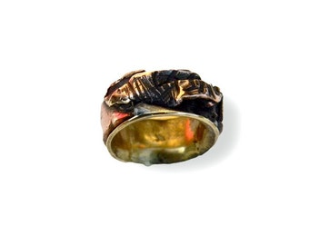 ring contemporary virolle polished brass and copper forged copper ring