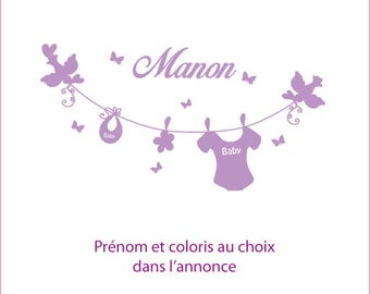 Birthstone for deco stickers nursery baby, first name choice