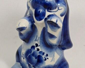 Russian GZHEL Porcelain FIGURINE of a Dog   #0203