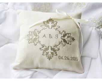 Monogrammed Ring Bearer Pillow ,wedding ring pillow, wedding pillow ,  embroidery wedding pillow (R62)