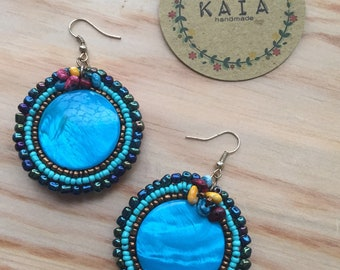 Boho Earrings Boho style painted sea shell earrings