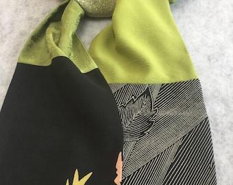 Silk kimono scarf black and green