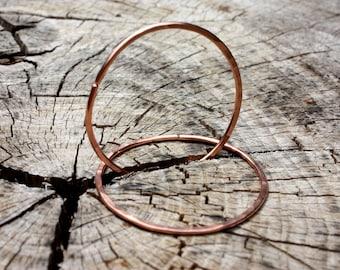 12 Gauge Hoops -  2 Inch Or 3 Inch Hoops For Tunnels - Hammered Hoops - Copper Or Sterling Silver Gauged Hoops - Hoop Earrings - TwoFeathers