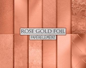 Rose Gold Foil Backgrounds: Rose Gold Digital Paper, Metallic Rose Gold Copper Foil, Printable Rose Gold Backdrop, Rose Gold Foil Textures