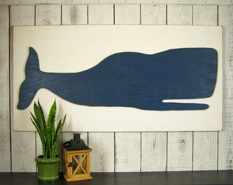 Wooden Whale Art Large Beach Wall Art Rustic Beach Decor Wall Art Beach House Decor Coastal Wall Art Wood Whale Decor Nautical Wall Decor