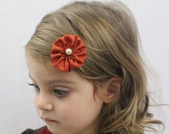 Orange Flower Hair Clip - Small Flower Burnt Orange Fall Hair Bow - Dark Orange Flower Clip