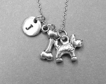 Dog bone necklace, Dog necklace, Scottish Terrier Dog charm, dog lover, pet lover, dog jewelry, initial necklace, personalized necklace