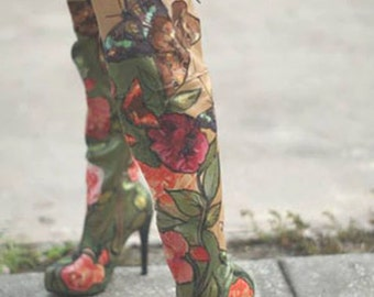 Painted thigh high boots hand made fashion shoes floral boots floral accessories women shoes women boots high heels custom painted boots