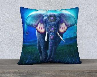elephant pillow case, art pillow case, fantasy art, fantasy elephant, custom pillow case, square pillow case, original art, colorful pillow